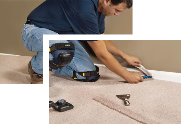 worker putting a carpet on the floor